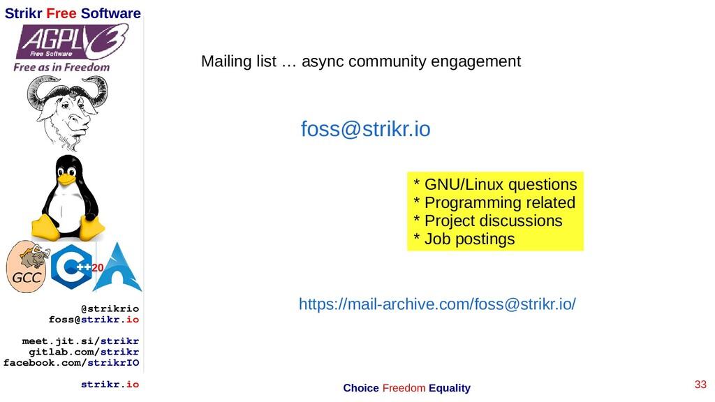 33 Strikr Free Software 20 @strikrio foss@strik...