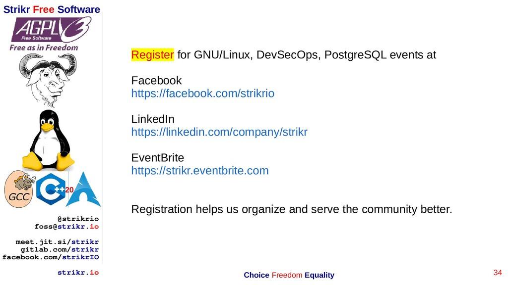 34 Strikr Free Software 20 @strikrio foss@strik...