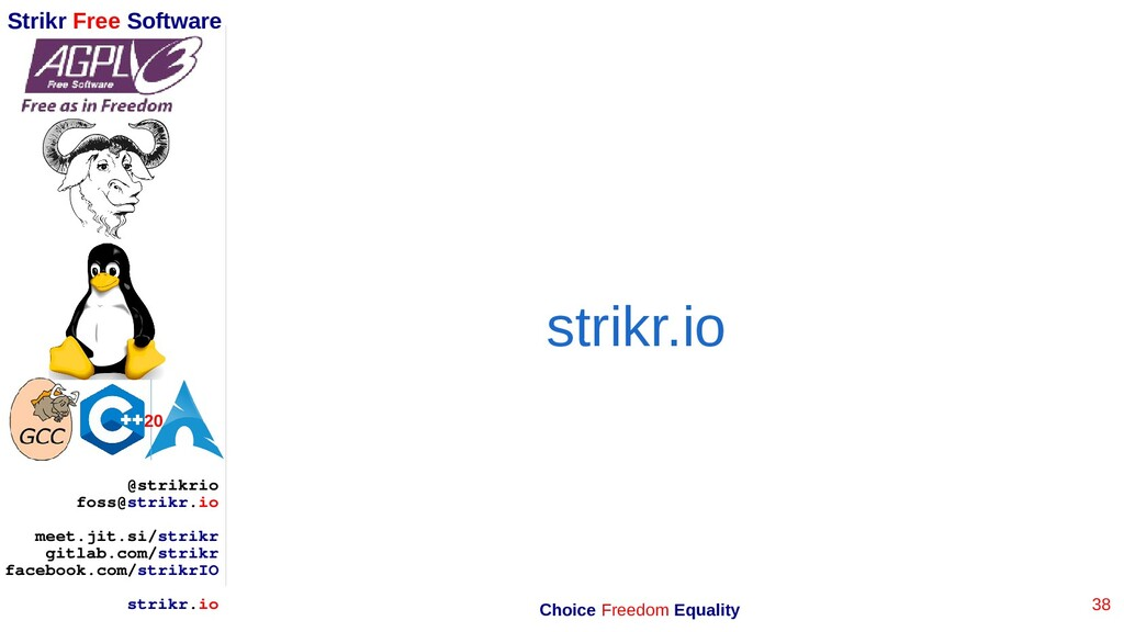 38 Strikr Free Software 20 @strikrio foss@strik...