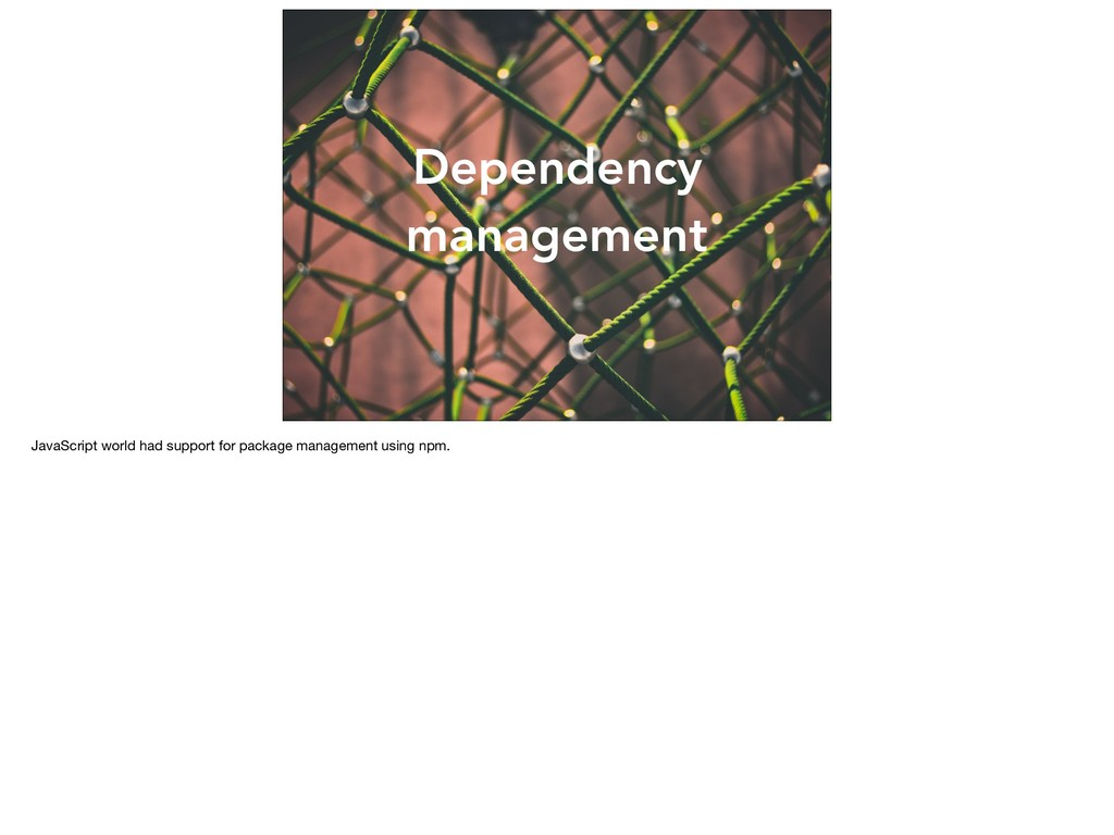 Dependency management JavaScript world had supp...