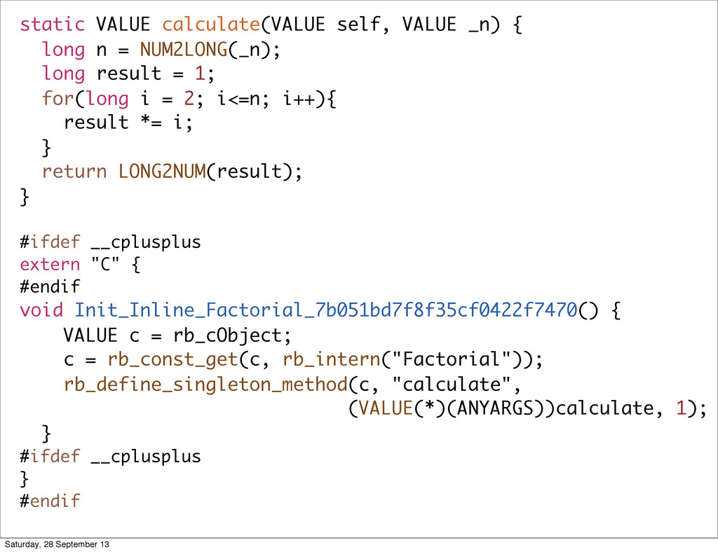 static VALUE calculate(VALUE self, VALUE _n) { ...