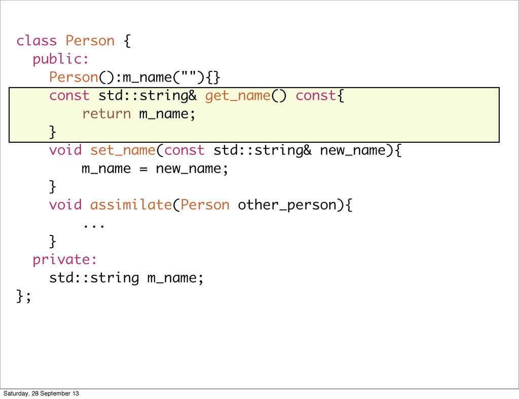 """class Person { public: Person():m_name(""""""""){} co..."""