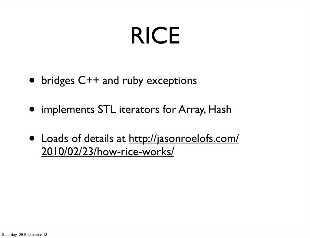 • bridges C++ and ruby exceptions • implements ...