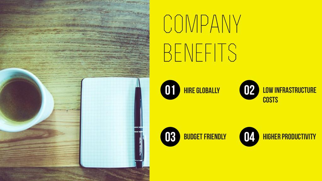 company benefits Hire globally 01 Low infrastru...