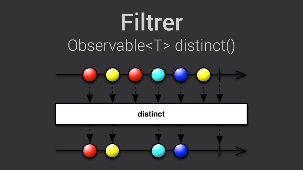 Filtrer Observable<T> distinct()