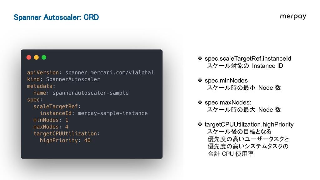 Spanner Autoscaler: CRD ❖ spec.scaleTargetRef....