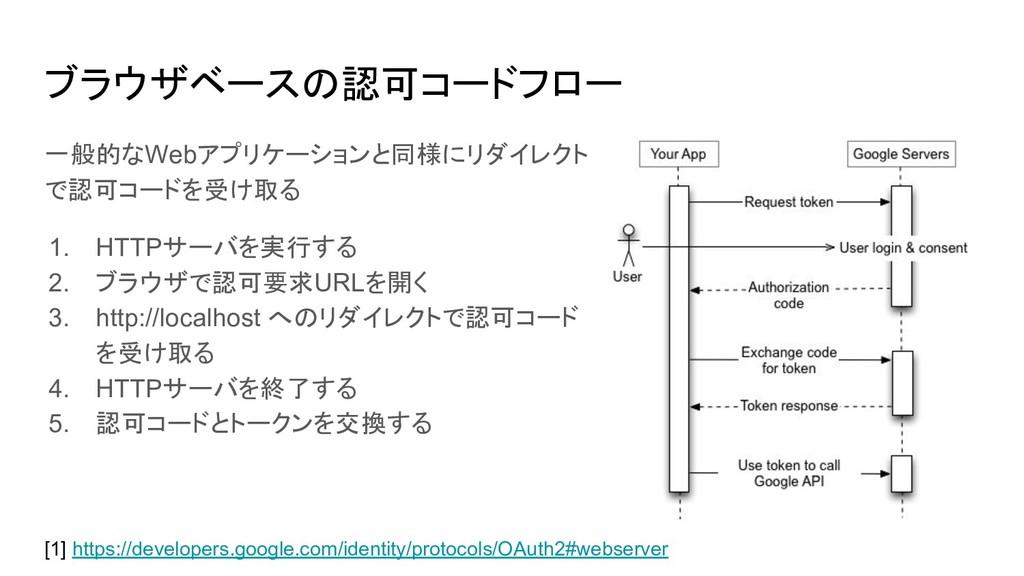 ブラウザベースの認可コードフロー [1] https://developers.google....