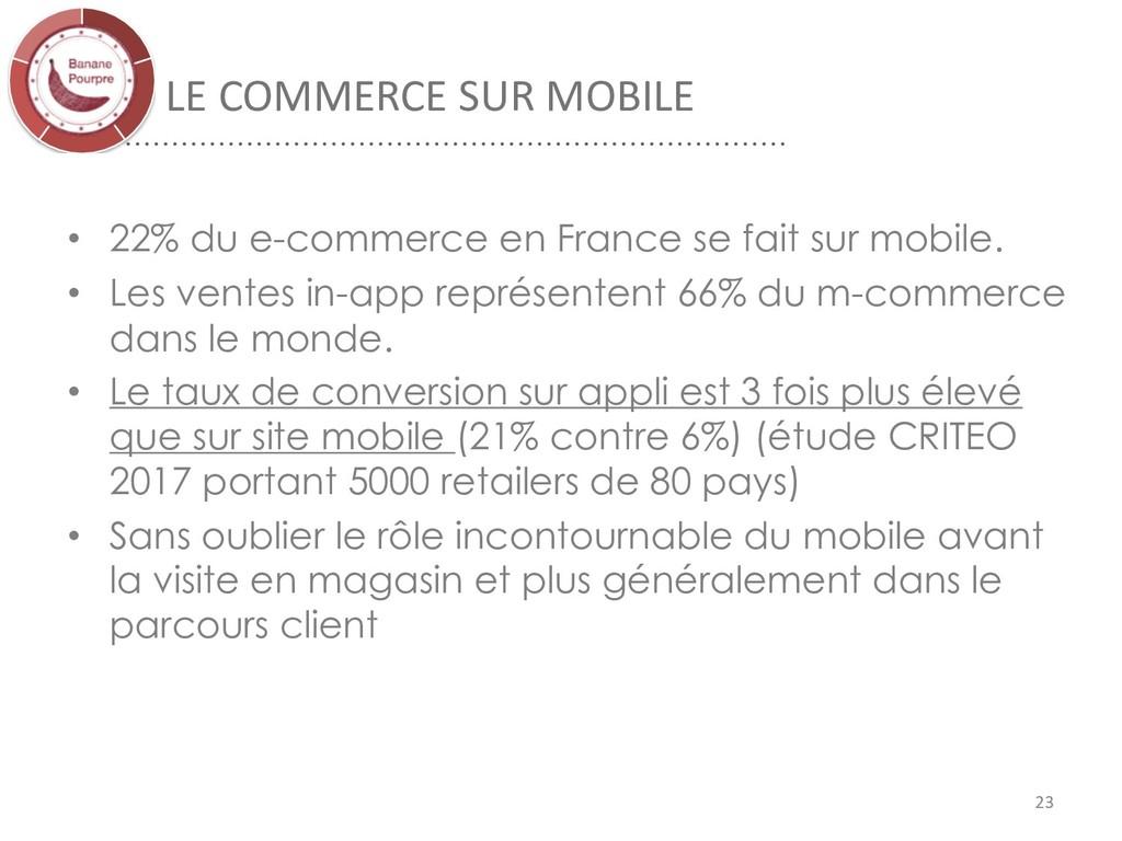 LE COMMERCE SUR MOBILE 23 • 22% du e-commerce e...