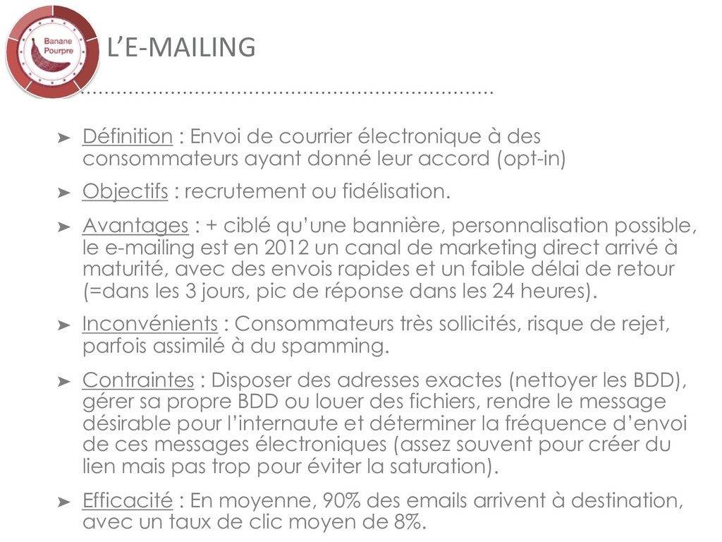 L'E-MAILING ➤ Définition : Envoi de courrier él...