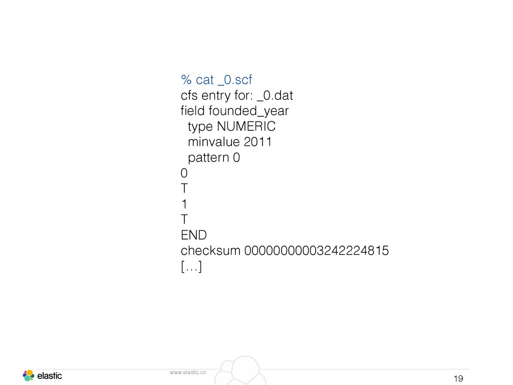 www.elastic.co 19 % cat _0.scf cfs entry for: _...