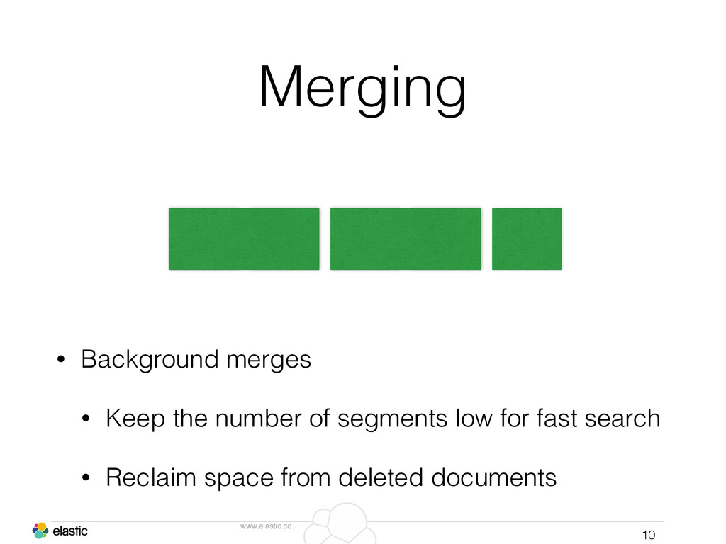 www.elastic.co Merging • Background merges • Ke...
