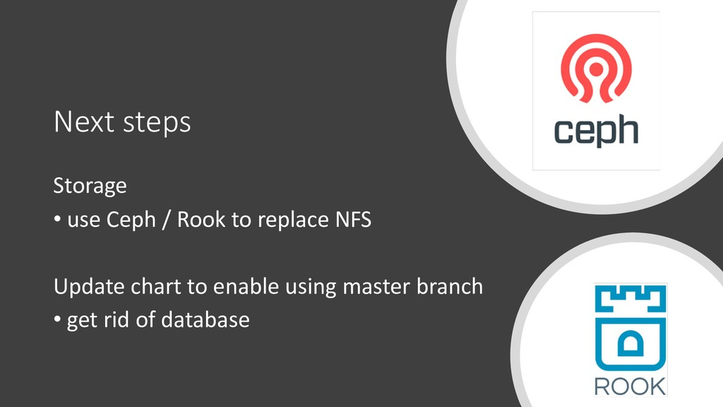 Next steps Storage • use Ceph / Rook to replace...