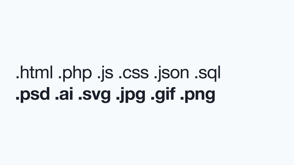 .html .php .js .css .json .sql  .psd .ai .svg ....