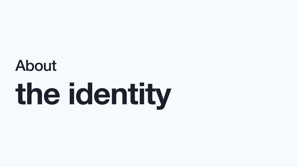 About the identity