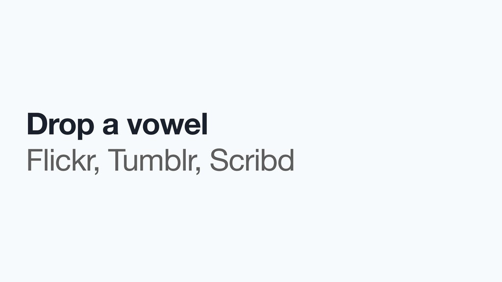 Drop a vowel Flickr, Tumblr, Scribd