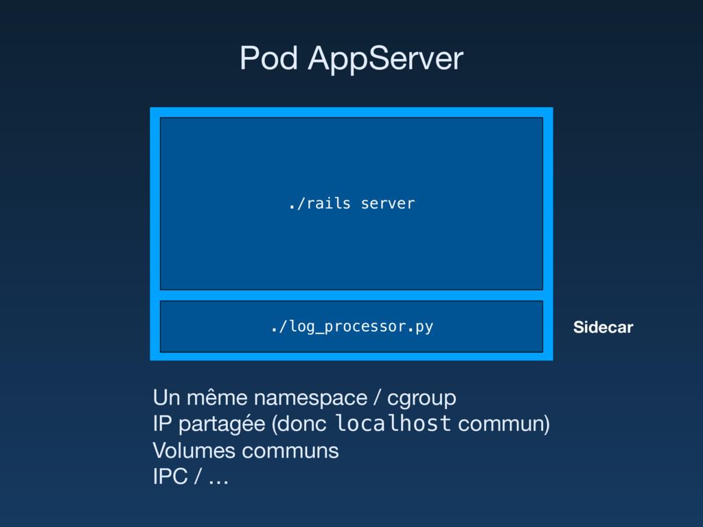 Un même namespace / cgroup IP partagée (donc l...