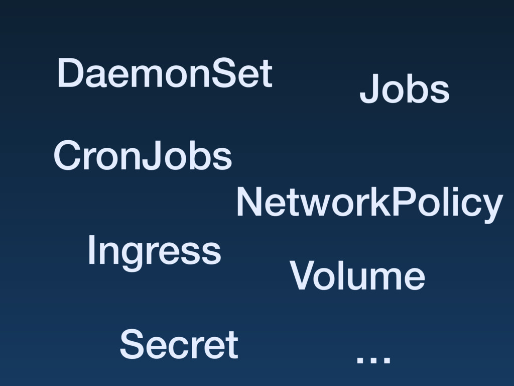 DaemonSet Jobs CronJobs NetworkPolicy Secret In...
