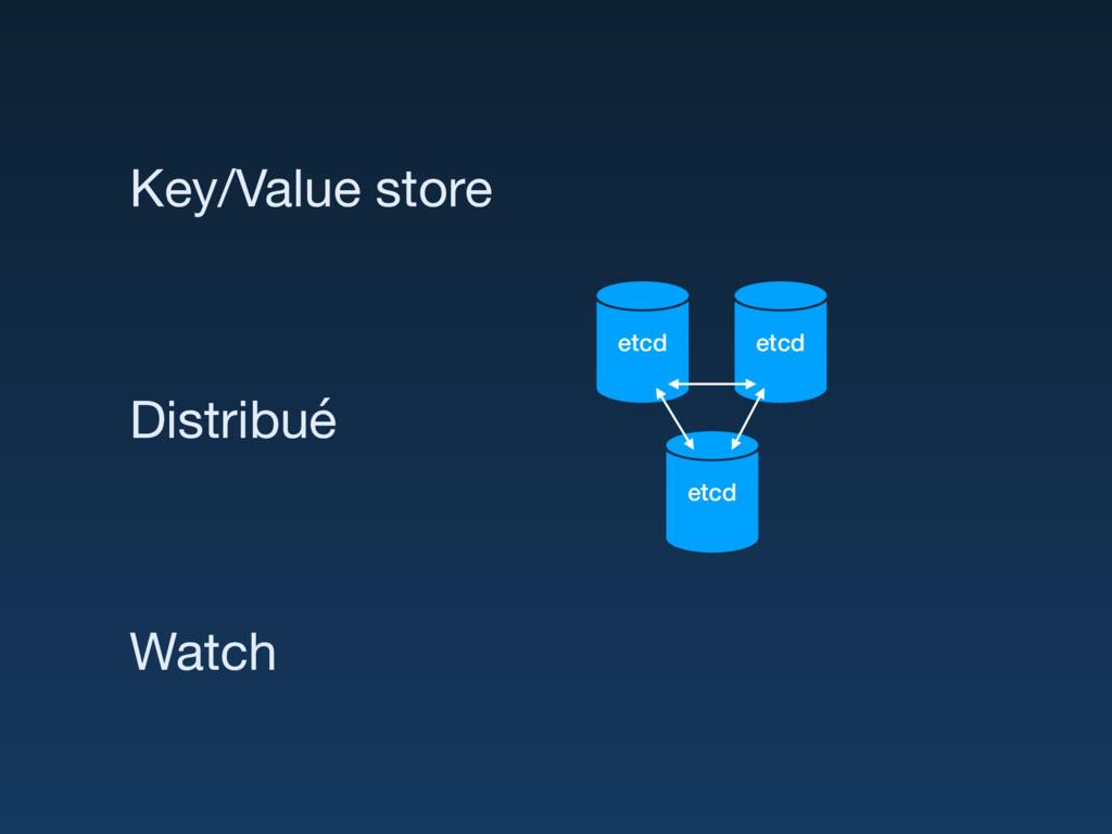 etcd etcd etcd Key/Value store Distribué Watch