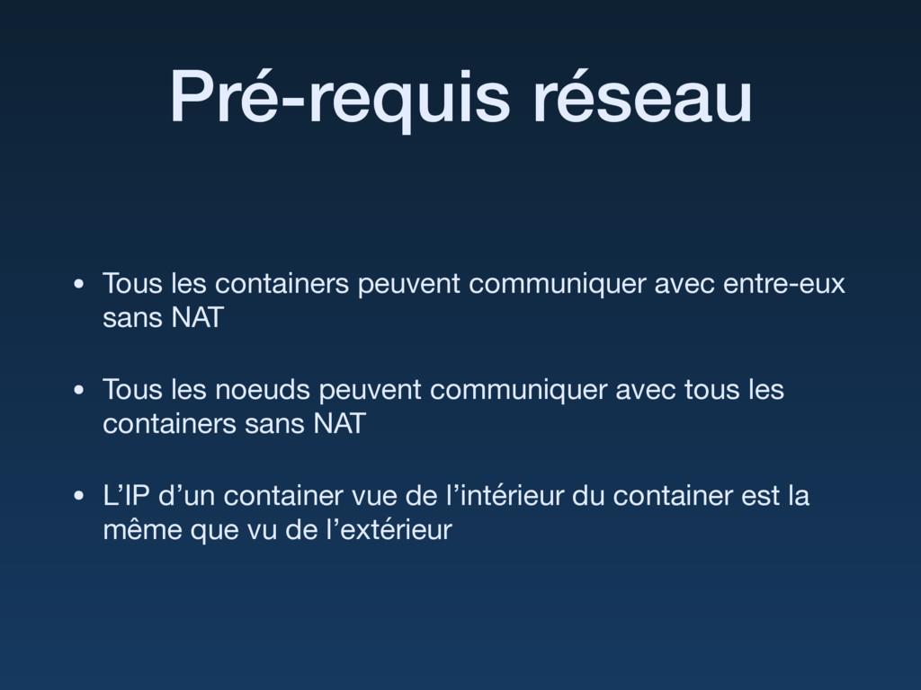Pré-requis réseau • Tous les containers peuvent...