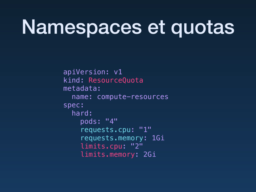 Namespaces et quotas apiVersion: v1 kind: Reso...