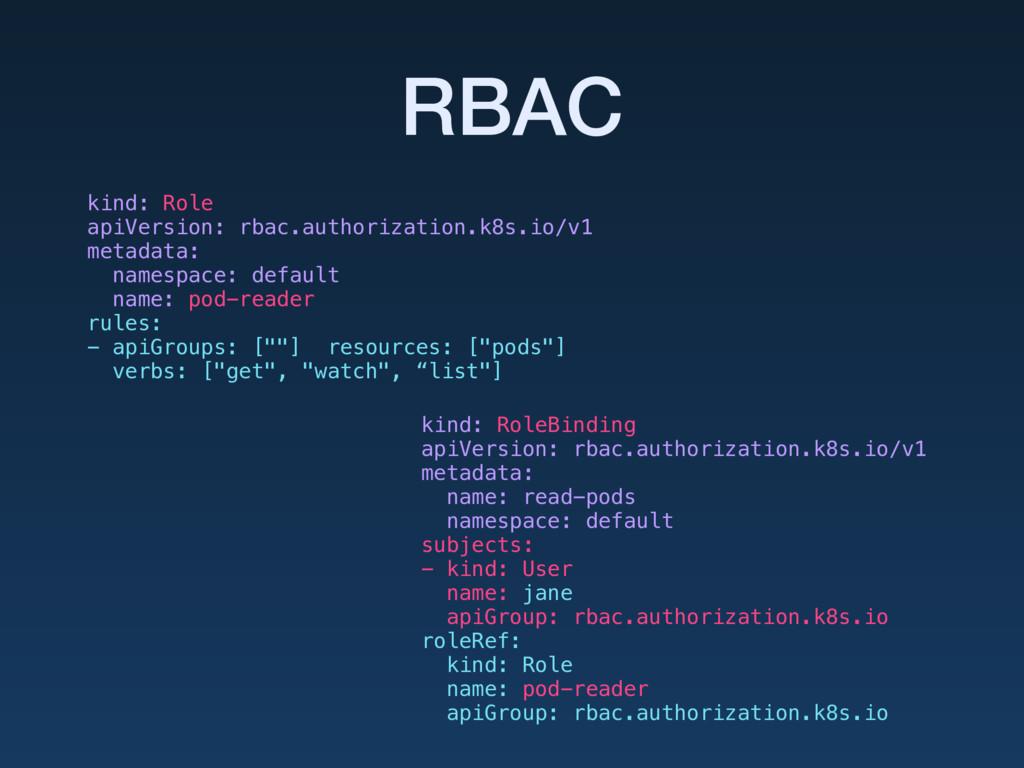 RBAC kind: Role apiVersion: rbac.authorization...