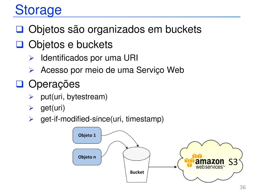 Storage 36  Objetos são organizados em buckets...