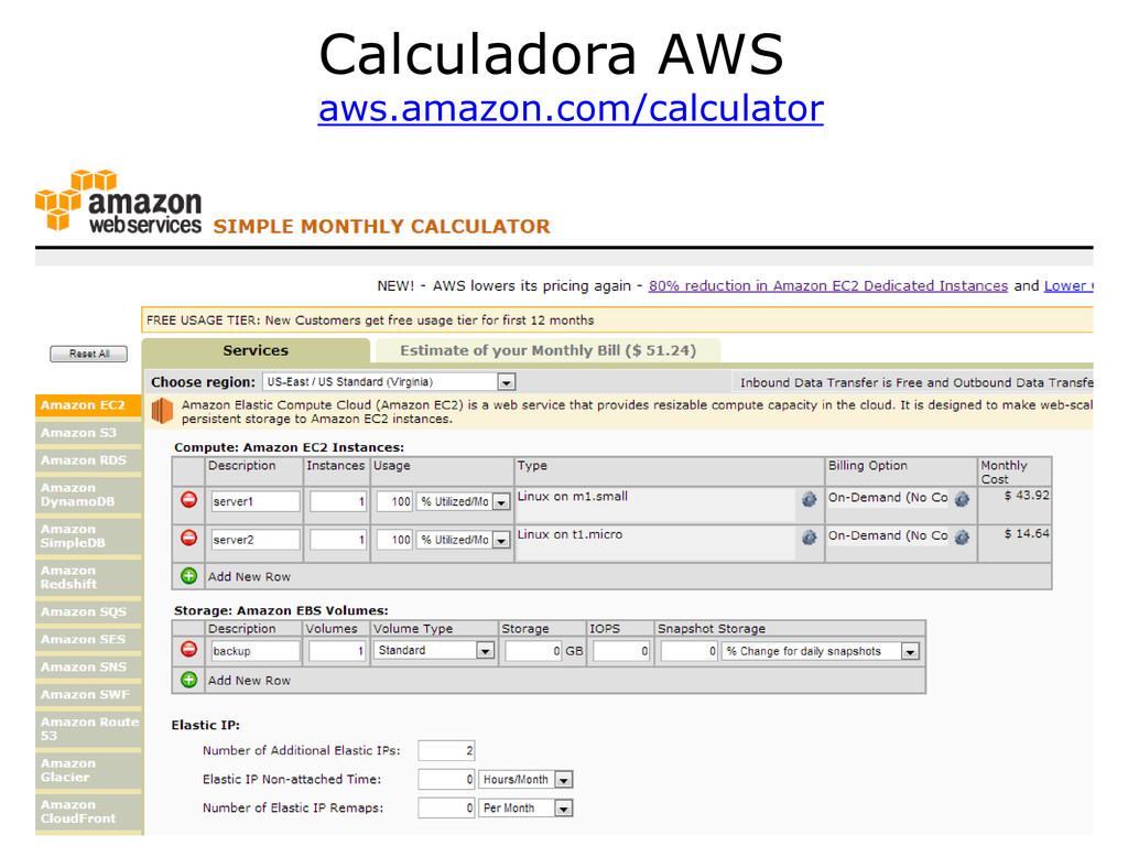 71 Calculadora AWS calculator aws.amazon.com/