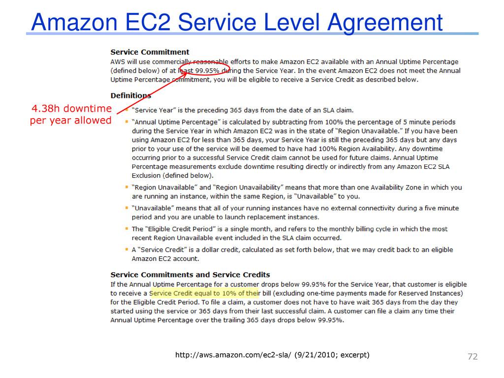 Amazon EC2 Service Level Agreement 72 http://aw...