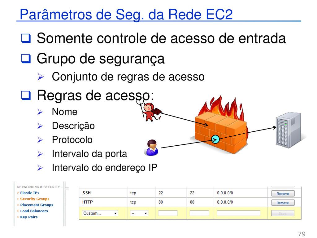 Parâmetros de Seg. da Rede EC2  Somente contro...