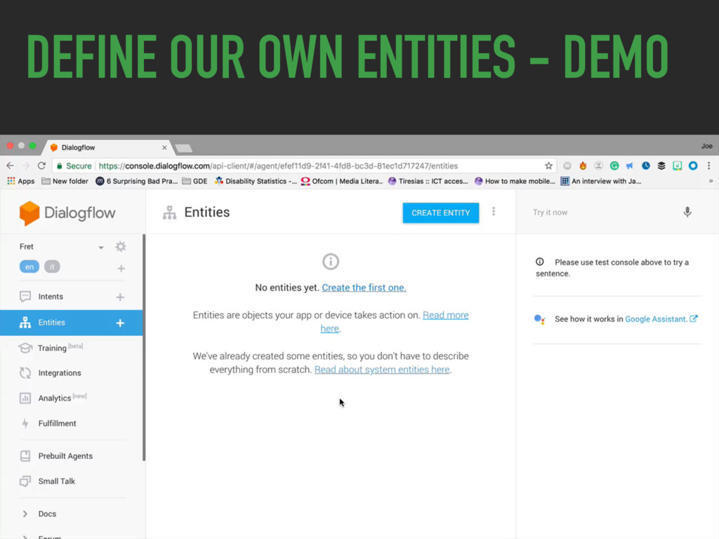 DEFINE OUR OWN ENTITIES - DEMO