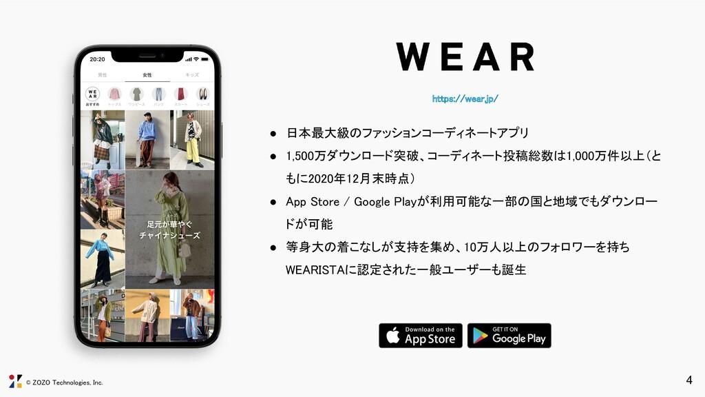 © ZOZO Technologies, Inc. https://wear.jp/ 4 ●...
