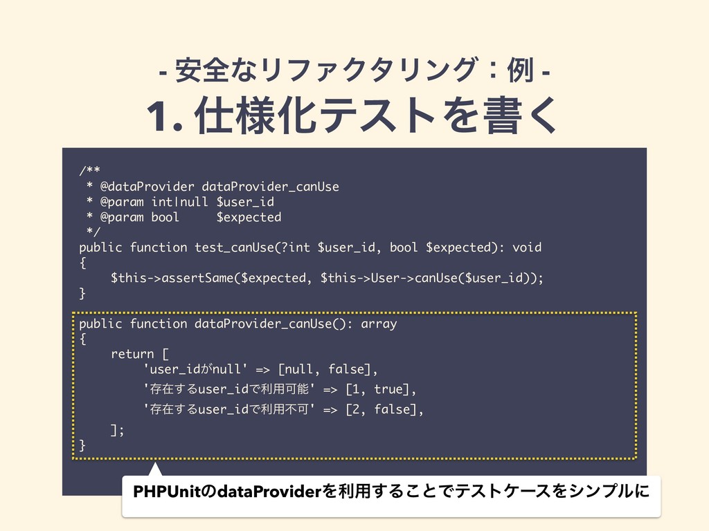 /** * @dataProvider dataProvider_canUse * @para...