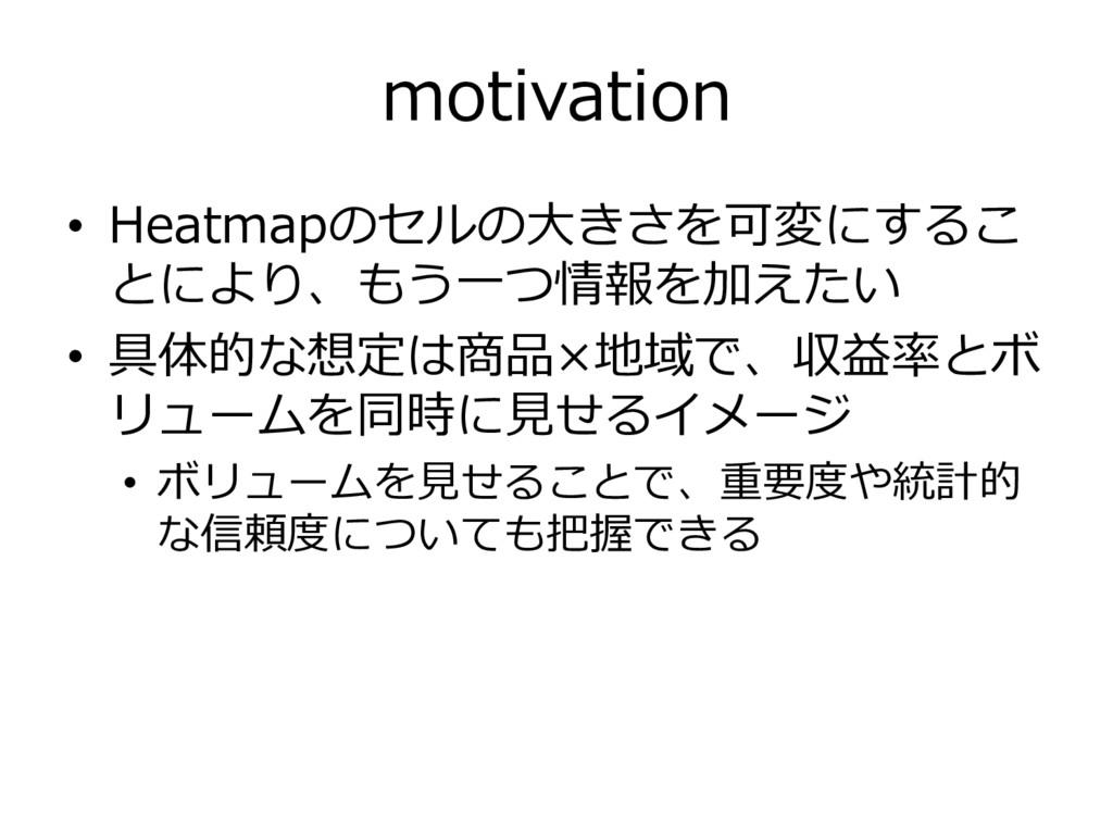 motivation • Heatmapのセルの大きさを可変にするこ とにより、もう一つ情報を...