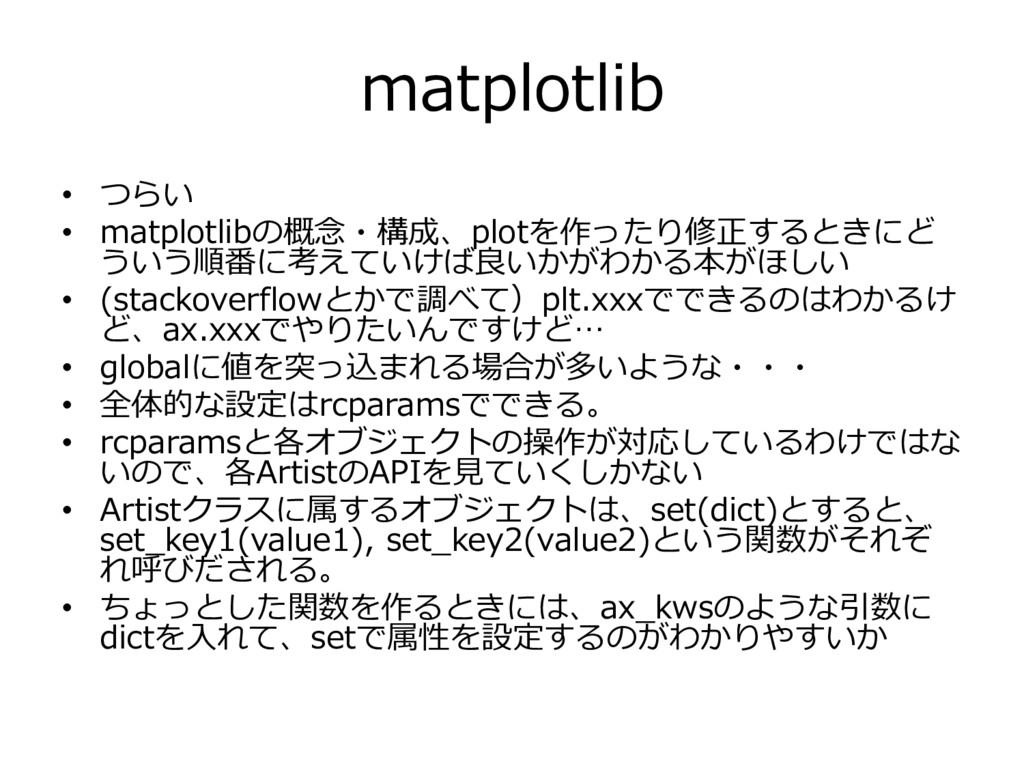 matplotlib • つらい • matplotlibの概念・構成、plotを作ったり修正...