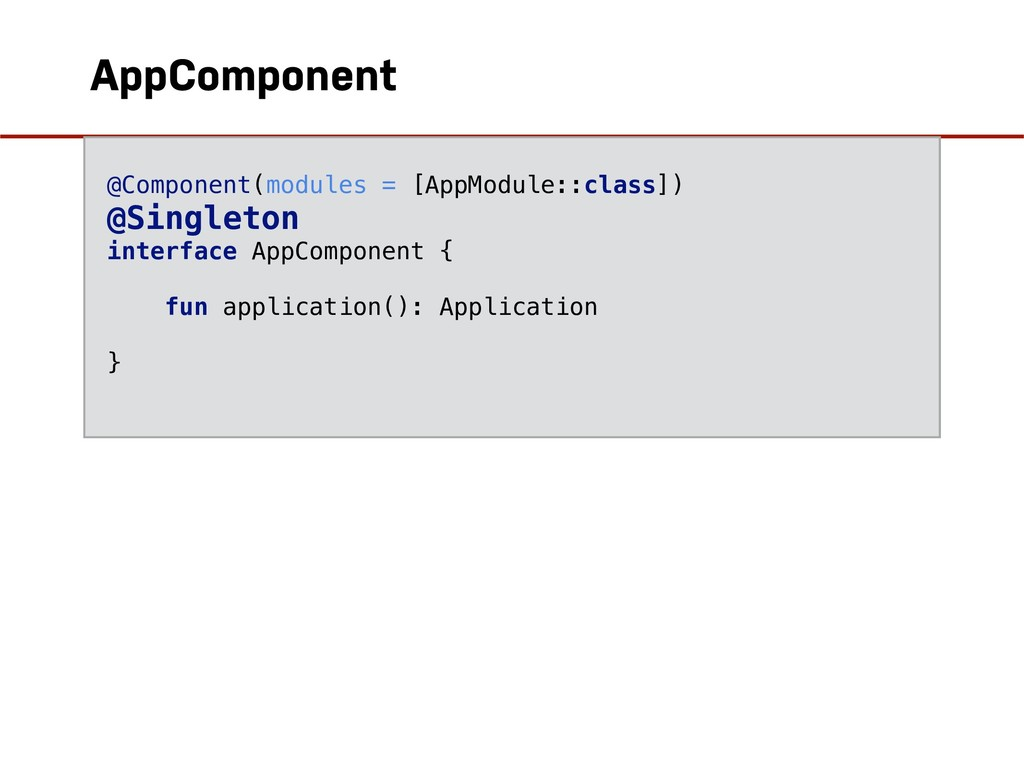 AppComponent @Component(modules = [AppModule::c...