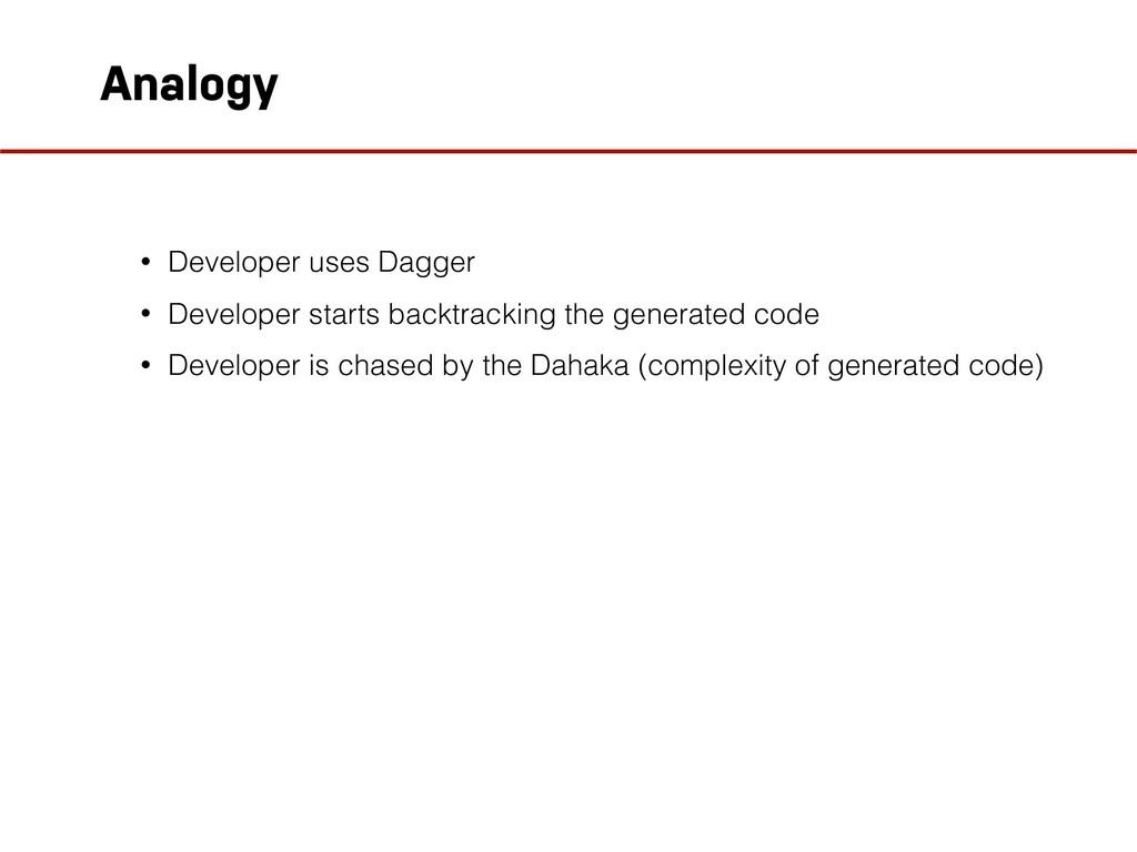 Analogy • Developer uses Dagger • Developer sta...