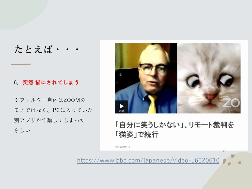 たとえば・・・ 6.突然 猫にされてしまう ※フィルター自体はZOOMの モノではなく、PCに...