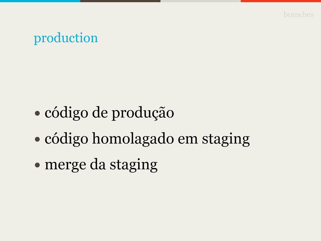 branches • código de produção • código homolaga...