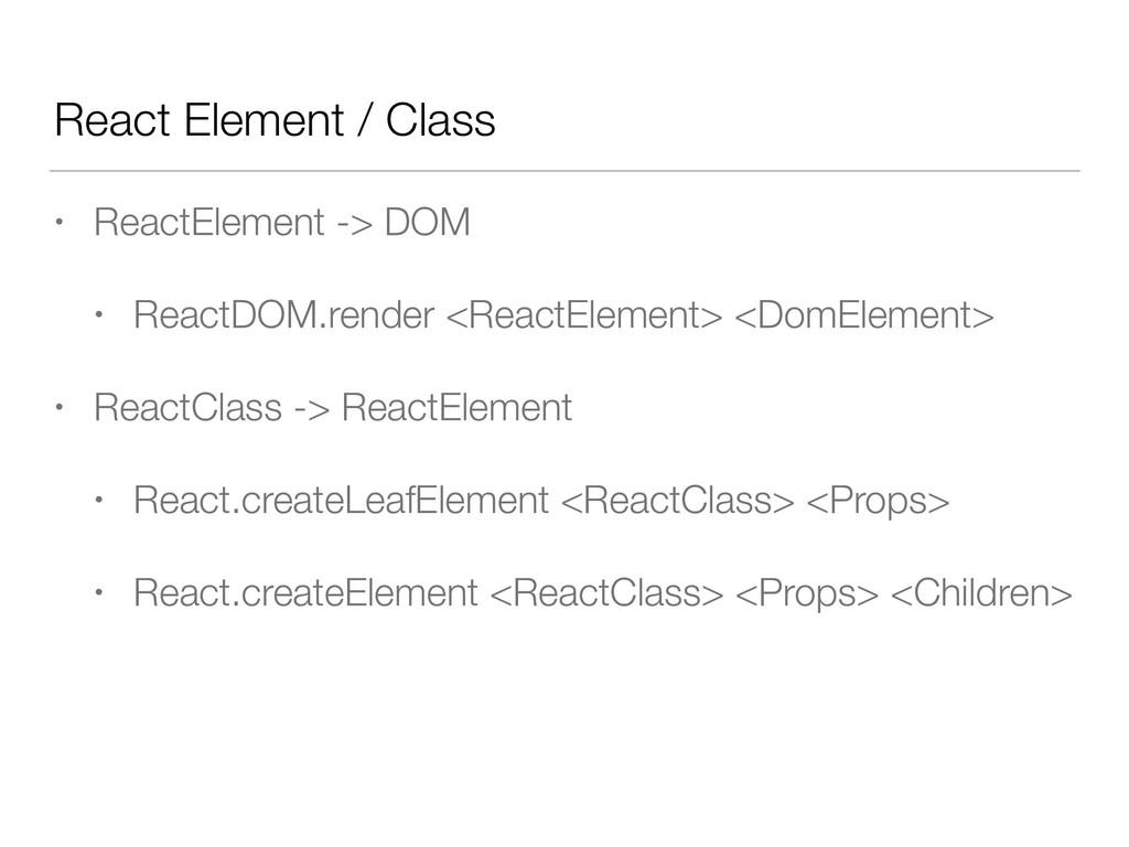 React Element / Class • ReactElement -> DOM • R...