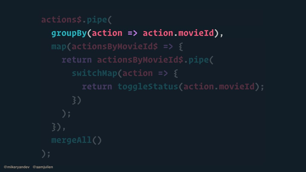 actions$.pipe(   groupBy(action => action.movie...