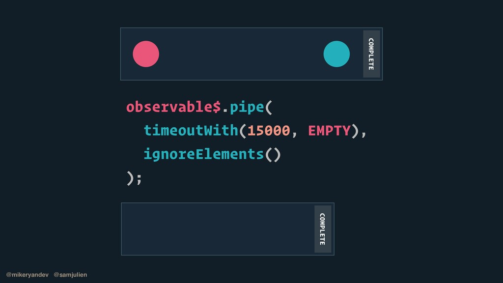 observable$.pipe(   timeoutWith(15000, EMPTY), ...