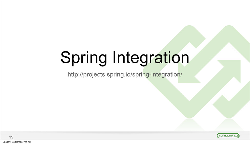 19 Spring Integration http://projects.spring.io...