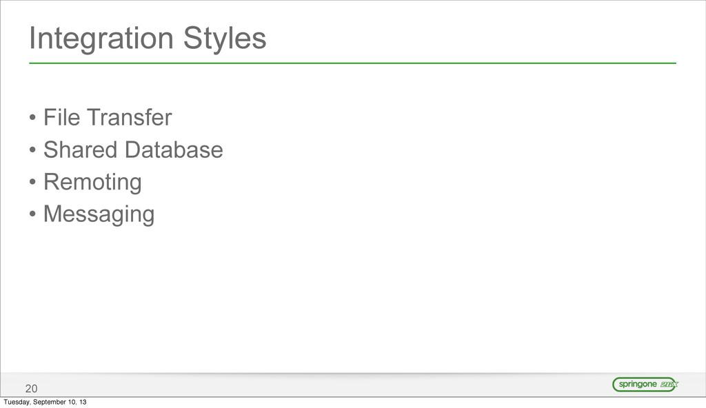 Integration Styles • File Transfer • Shared Dat...
