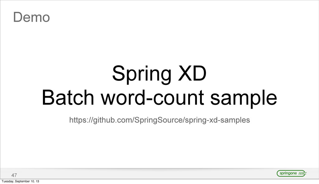 Demo 47 Spring XD Batch word-count sample https...