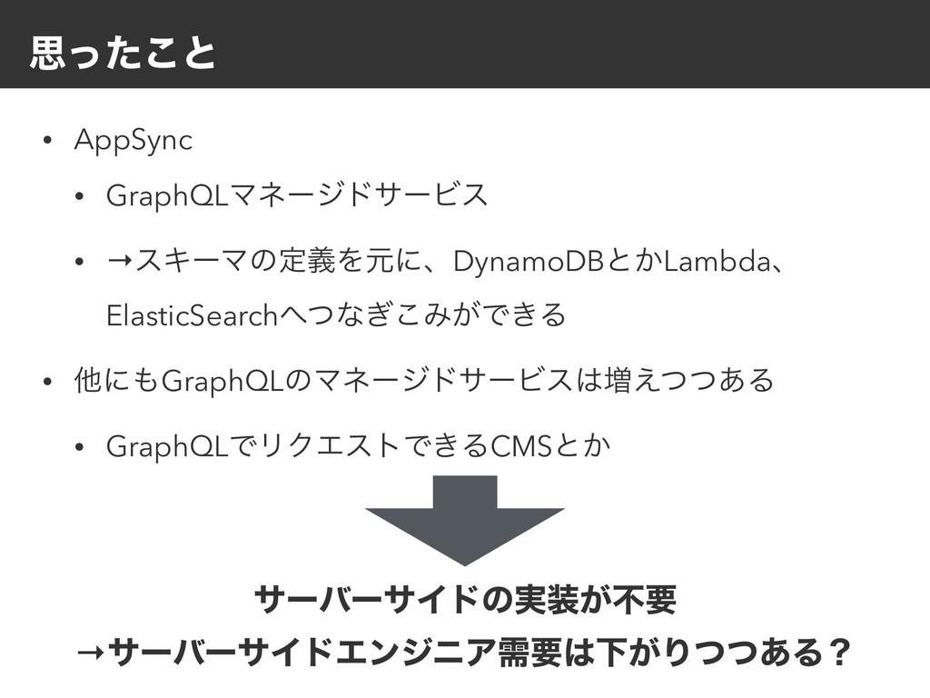 ࢥͬͨ͜ͱ • AppSync • GraphQLϚωʔδυαʔϏε • →εΩʔϚͷఆٛΛݩ...