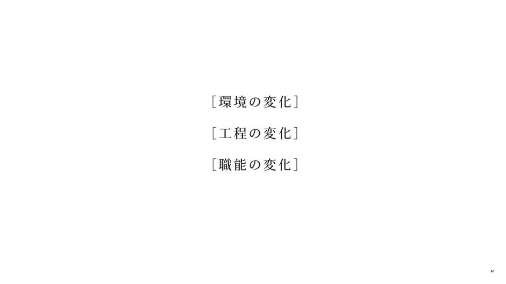 [ 環 境の変 化]  [ 工 程の変 化]  [ 職 能の変 化] 61