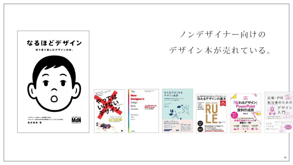 ノンデザイナー向けの、 デザイン本が 売れ ている。 97
