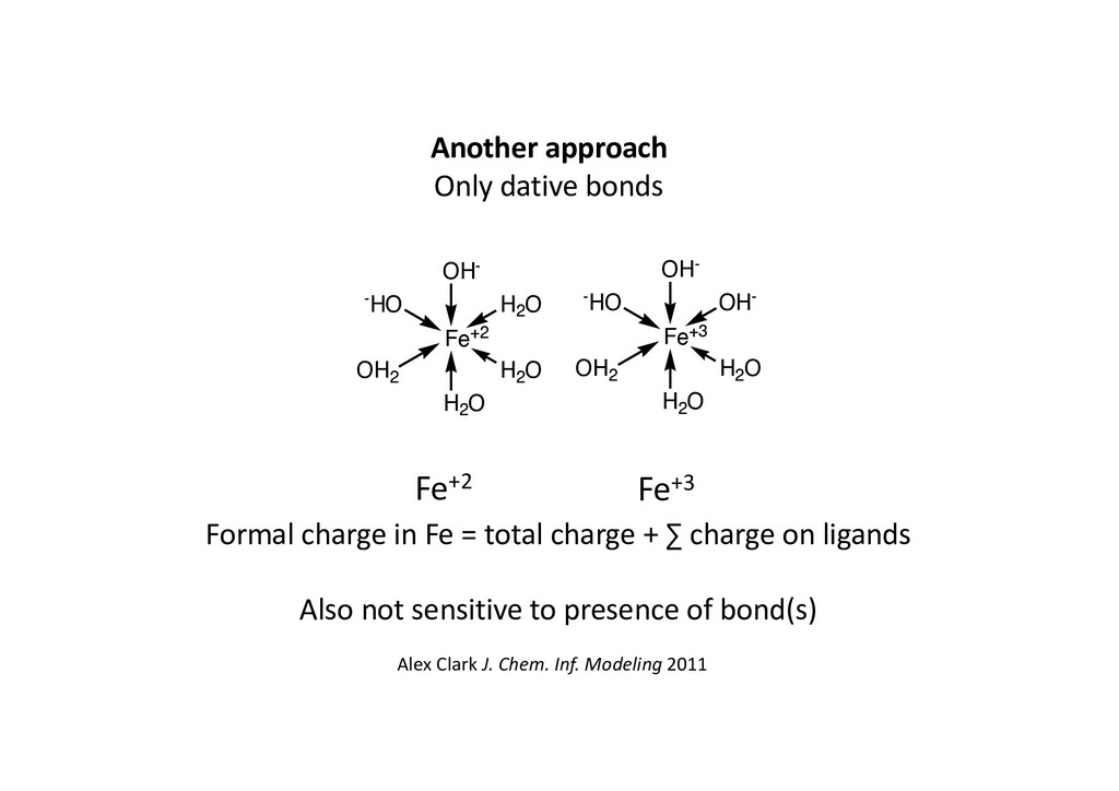 Another approach Only dative bonds Fe+2 Fe+3 Fo...