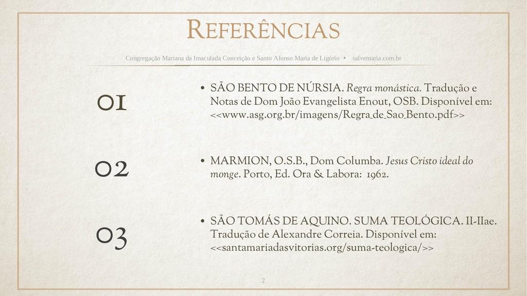 REFERÊNCIAS Congregação Mariana da Imaculada Co...
