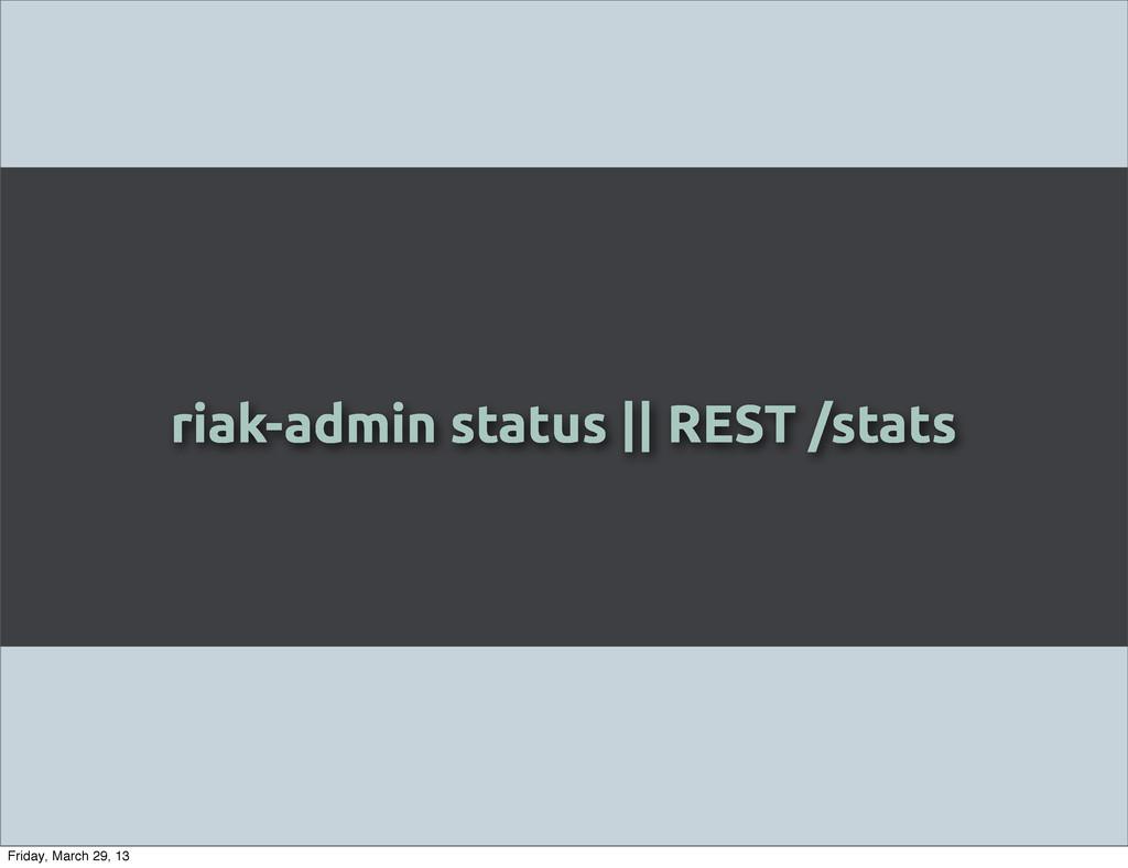 riak-admin status || REST /stats Friday, March ...